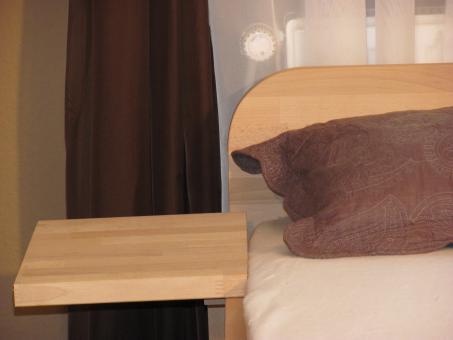 27mm Massivholzbett Einzelbett Doppelbett mit Fuss I, Kopfteil gerundet 80cm | Buche | 200cm | 40cm