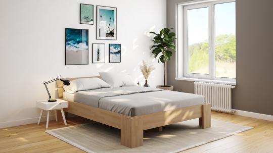 27mm Massivholzbett Einzelbett Doppelbett mit Fuss I, Kopfteil schräg II 140cm | Buche | 220cm | 40cm