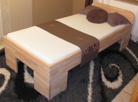 27mm Massivholzbett Einzelbett Doppelbett mit Fuss II, Kopfteil gerundet 80cm   Buche   200cm   30cm