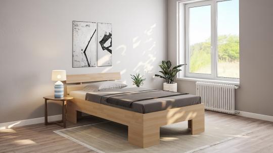 27mm Massivholzbett Einzelbett Doppelbett mit Fuss II, Kopfteil schräg II 80cm | Buche | 200cm | 30cm