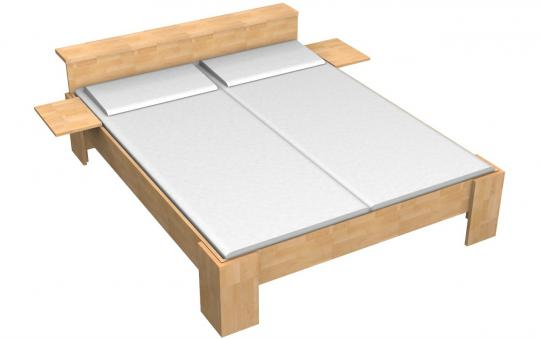 Massivholzbett Buche Doppelbett Fuss I mit Ablagefläche am Kopfteil 140cm | 18mm | 200cm | 40cm