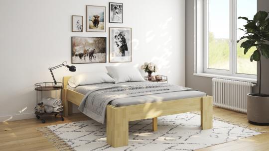 Massivholzbett Buche Doppelbett Fuss I mit Komfortsitzhöhe 140cm | 18mm | 200cm | 40cm