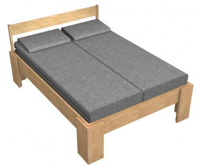 Massivholzbett Buche Doppelbett Fuss I mit Kopfteil 5 140cm | 18mm | 200cm | 40cm