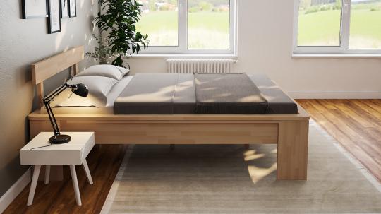 Massivholzbett Buche Doppelbett Fuss I mit Umrandung und Kopfteil 4 140cm | 18mm | 200cm | 40cm
