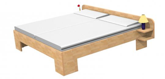 Massivholzbett Buche Doppelbett Fuss II Kopfteil 3 gerundet 140cm | 30cm | Buche | 200cm