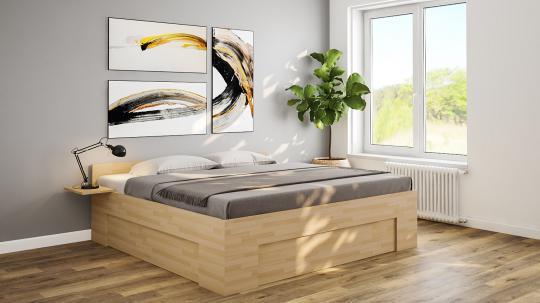 Massivholzbett Buche Doppelbett Fuss II an 3 Seiten unten verschlossen 140cm | 18mm | 200cm | 30cm