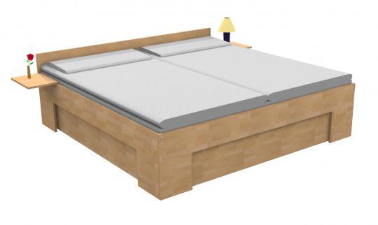 Massivholzbett Buche Doppelbett Fuss II an 3 Seiten unten verschlossen 140cm   18mm   200cm   30cm