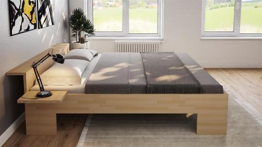 Massivholzbett Buche Doppelbett Fuss II mit Ablagefläche am Kopfteil 140cm   18mm   220cm   44cm