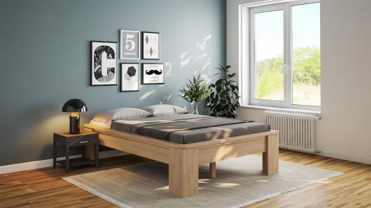 Massivholzbett Buche Doppelbett Komfortbett Fuss I mit Umrandung 140cm | 18mm | 200cm | 40cm