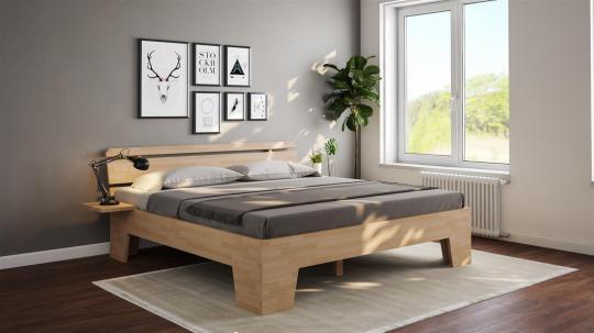 Massivholzbett Buche Doppelbett Komfortbett Fuss II schräg mit Kopfteil 6 140cm   18mm   200cm   30cm