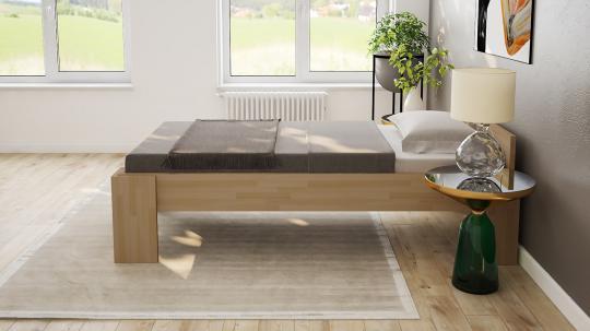 Massivholzbett Buche Einzelbett mit Fuss I 80cm | 18mm | 200cm | 40cm