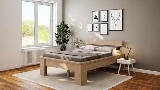 Massivholzbett Buche Einzelbett mit Fuss I Kopfteil 4 mit Umrandung 90cm | 27mm | 220cm | 49cm