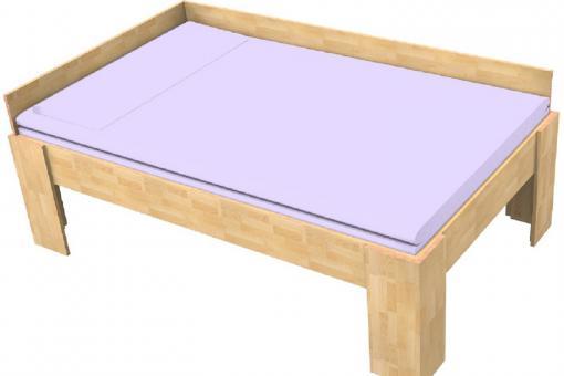 Massivholzbett Buche Komfortbett Einzelbett mit Rückwand, Fuss I 80cm | 27mm | 200cm | 40cm