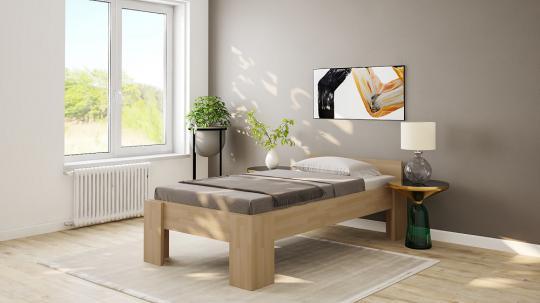 Massivholzbett Eiche Einzelbett mit Fuss I 80cm   200cm   40cm