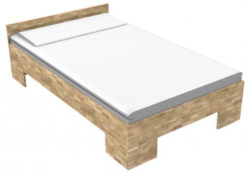 Massivholzbett Eiche Einzelbett mit Fuss II 80cm | 200cm | 30cm