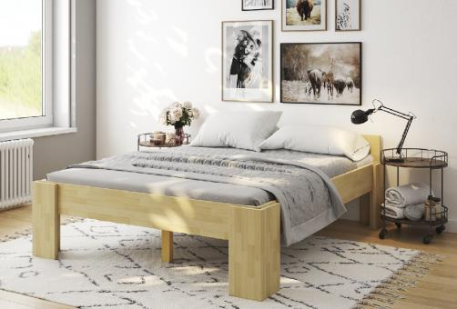 Massivholzbett Kernesche Doppelbett mit Fuss I mit Komfortsitzhöhe 140cm | 200cm | 40cm