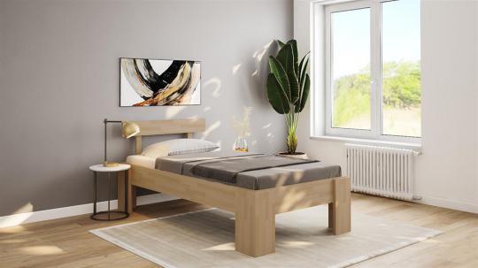 Massivholzbett Komfortbett Buche Einzelbett mit Fuss I Kopfteil 4 120cm | 18mm | 200cm | 44cm