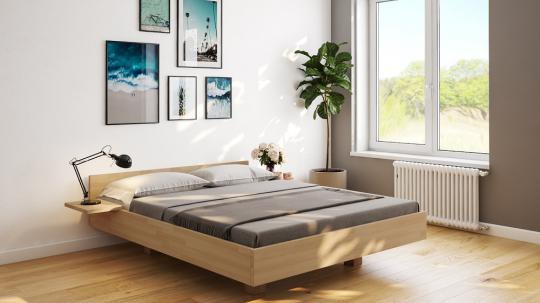 Schwebebett Massivholzbett schwebend Buche Doppelbett in schwebender Optik 140cm | Buche | 200cm | 40cm