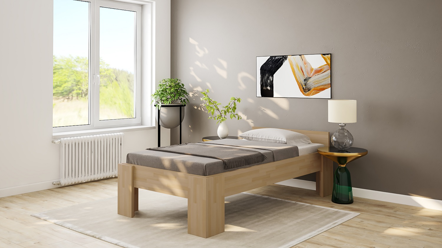 massivholzbett eiche doppelbett fuss i 140cm 200cm. Black Bedroom Furniture Sets. Home Design Ideas
