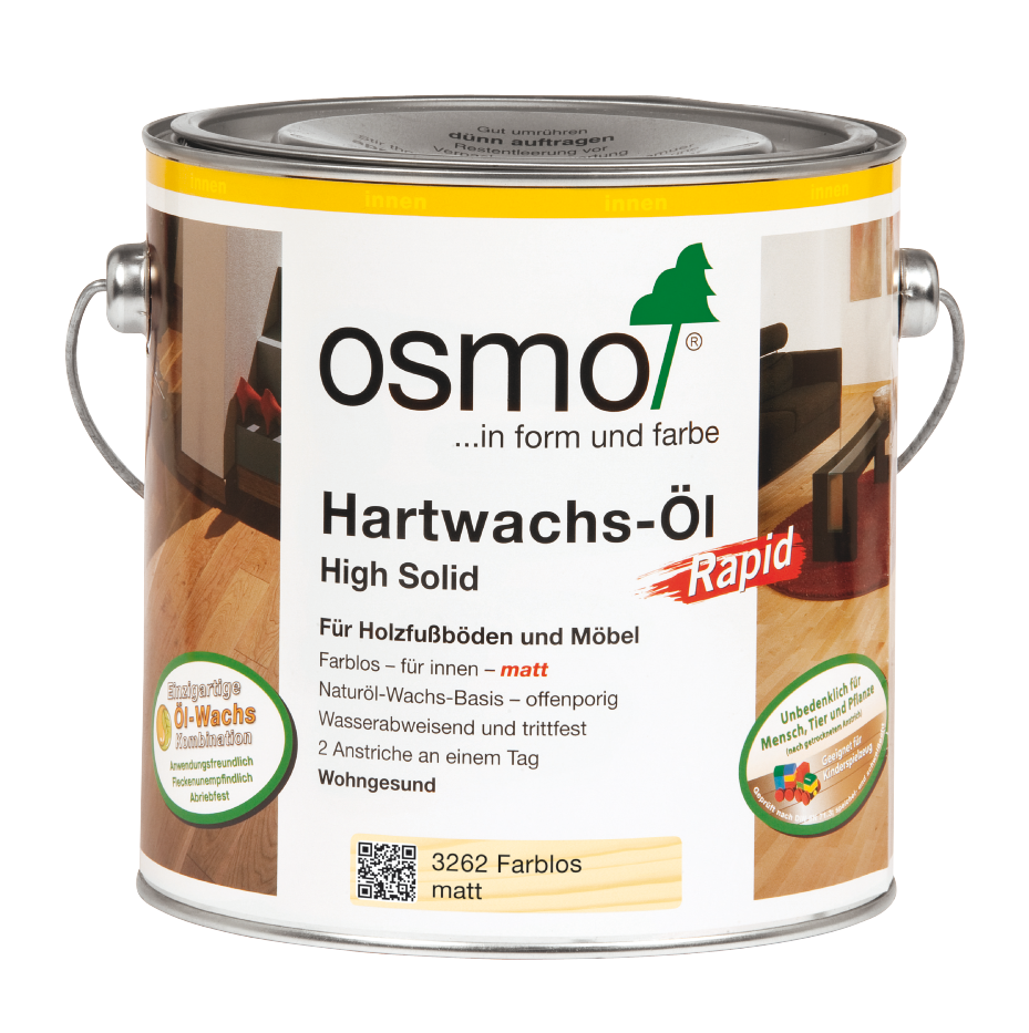 osmo hartwachs l rapid farblos seidenmatt 3232 0 75 l. Black Bedroom Furniture Sets. Home Design Ideas