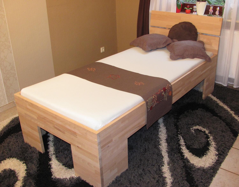 massivholzbett buche einzelbett mit fuss ii kopfteil schr g i 80cm 18mm 200cm 30cm im. Black Bedroom Furniture Sets. Home Design Ideas